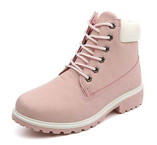 Stiefel Martin Bootsschuhe Rosa Boots Schnür Freien Herbst Damen Stiefeletten Aufladungen Schuhe Winter Camouflage Schlupfstiefel Minetom Flache 5PqYwB