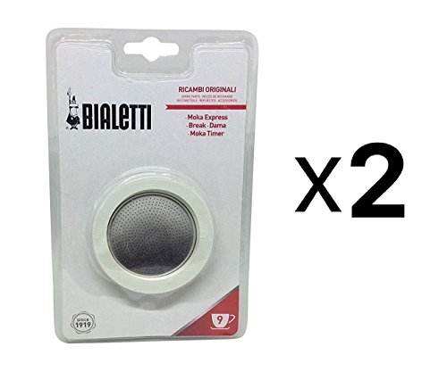 Bialetti 9 Cup Moka Express Replacement Gasket Seal Filter Incl 2 Gaskets 2-Pack ()
