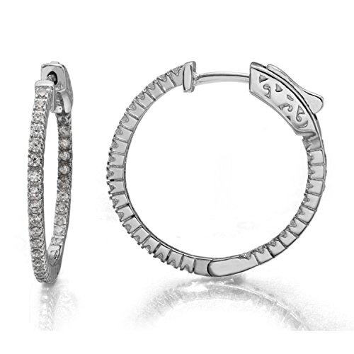 Diamoness Women's Silver Plated Inside Out Hoop Earrings with Cubic Zirconia Crystals