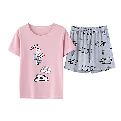 Vopmocld Big Girls' Lovely Cat Sleepy Bear Sleepwear Cute Cartoon 2PCS Pajama Sets Pink