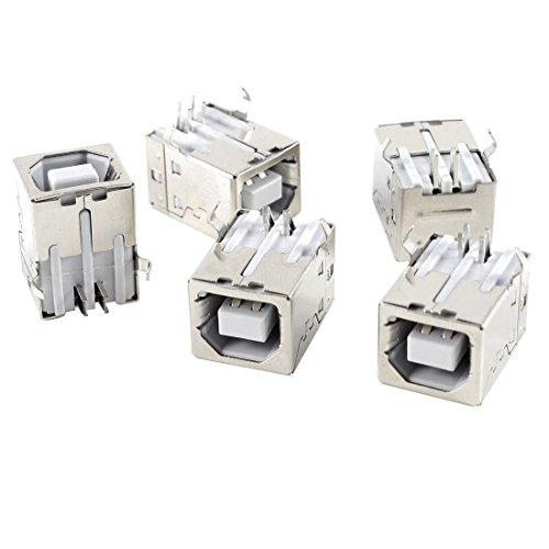 uxcell 5 Pcs USB Female Type-B Jack 4-Pin 90 Degree PCB DIP