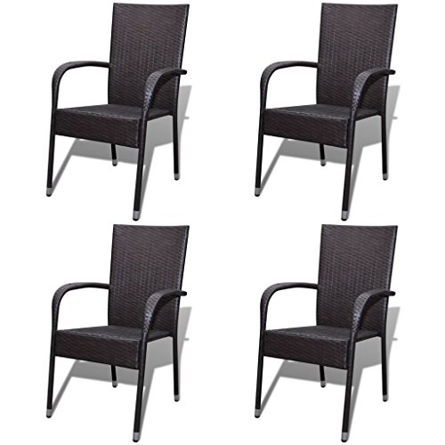 Festnight Outdoor Patio Garden Wicker Stacking Dining Chairs Set of 4,Poly Rattan