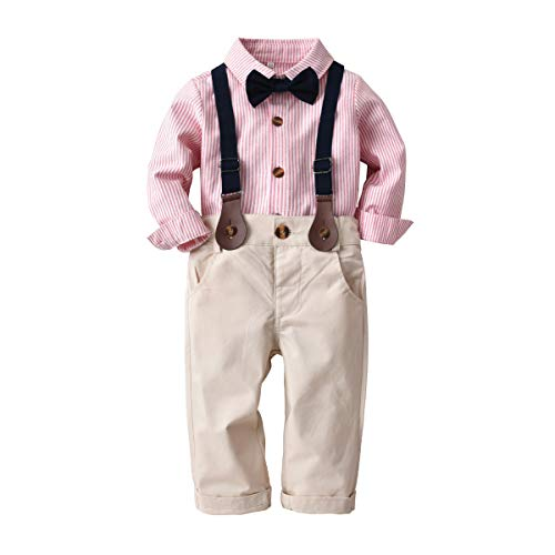 Boarnseorl Baby Boys Long Sleeve Gentleman Outfit Suits Set,Pink Stripes Shirt+Beige Pant+Suspenders+Bowtie,2Y-3Y
