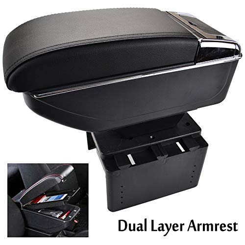 Car Armrest - XUKEY Universal Dual Layer Car Armrest Arm Rest Storage Box Black Leather