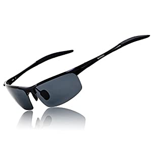 Ronsou Men Sport Al-Mg Polarized Sunglasses Unbreakable For Driving Cycling Fishing Golf black frame/gray lens
