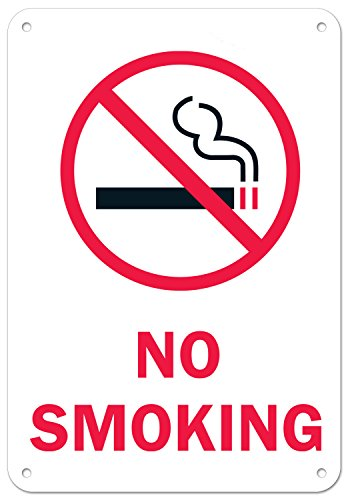 "No Smoking Sign, Large Rust Free 7x10"" Aluminum, For Indoor or Outdoor Use - By ARMO"