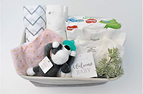 8 Piece Baby Girl Shower Gift Basket Set - Organic Cotton Bamboo Muslin Swaddle, Plush Animal Pacifier, Kimono Onesie Bodysuit, Multipurpose Diaper Basket, Bandana Bib - Pink Hearts