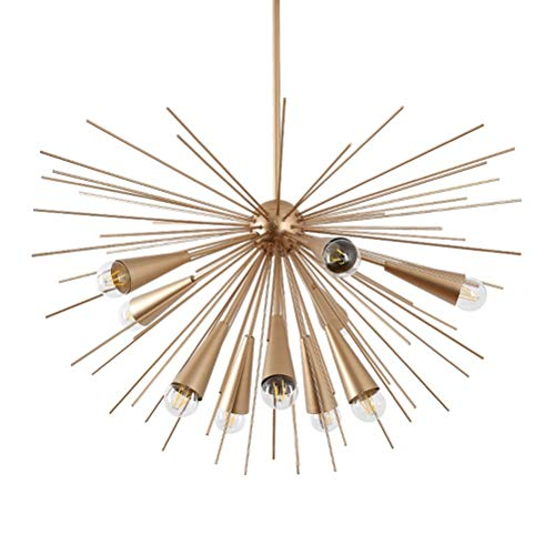 YJJL 10 Light Pendant Light Simple Living Room Chandelier Restaurant Ceiling Lighting Metal Champagne Gold Satellite Shape Hanging Lamp Fixture (Satellite Fixture)