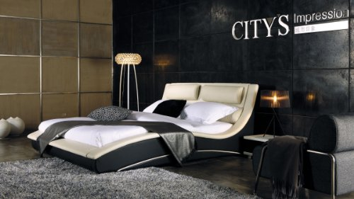 Napoli Modern Platform Bed Cream Black King