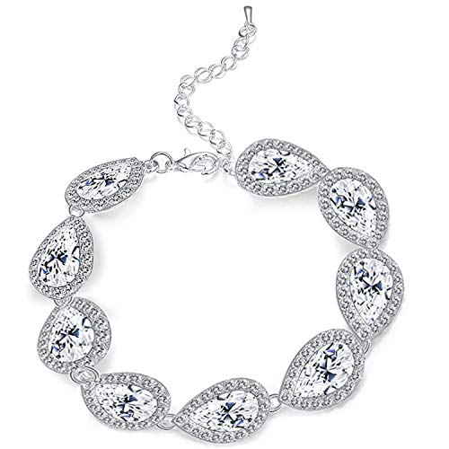 Paxuan Womens Silver Plated Teardrop White Austrian Crystal Wedding Bridal Bracelet Teardrop ()