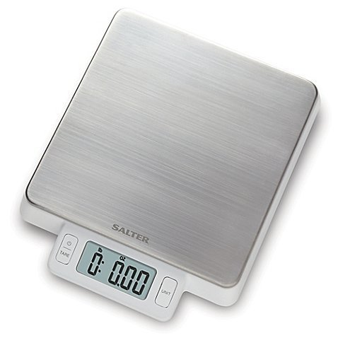 (Salter High Precision Stainless Steel Digital Kitchen Food Scale in White l 11 Pound Weight Capacity and is Easy to Clean)