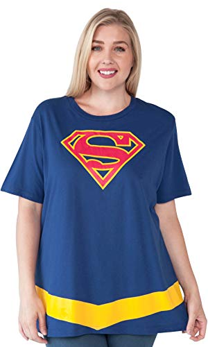 DC Comics Plus Size Womens T-Shirt Supergirl Logo Belt Costume Print (Blue, 4X)