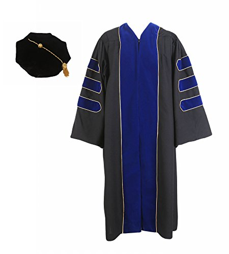 (GraduationService Unisex Deluxe Doctoral Graduation Gown with Gold Piping and 8-Side Velvet Tam Package )