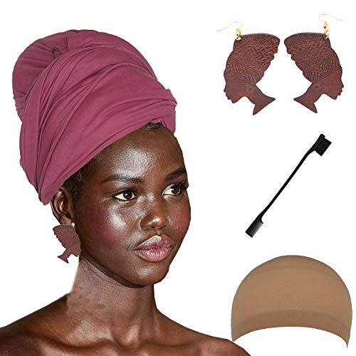 (Long Stretch Head Wrap Set- Solid Color African Turban Hair Scarf Tie, Double Sided Edge Control Hair Brush Comb Combo,Wooden Colored Turban African Woman Earrings,Wig Cap (OneSize,)