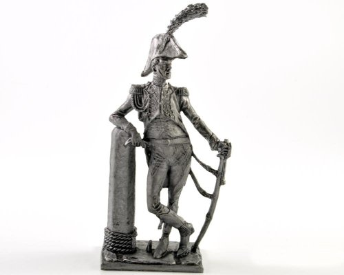 France. Officer of the sailors Imperial Guard battalion. 1809-1812 years metal sculpture. Collection 54mm (scale 1/32) miniature figurine. Tin toy soldiers