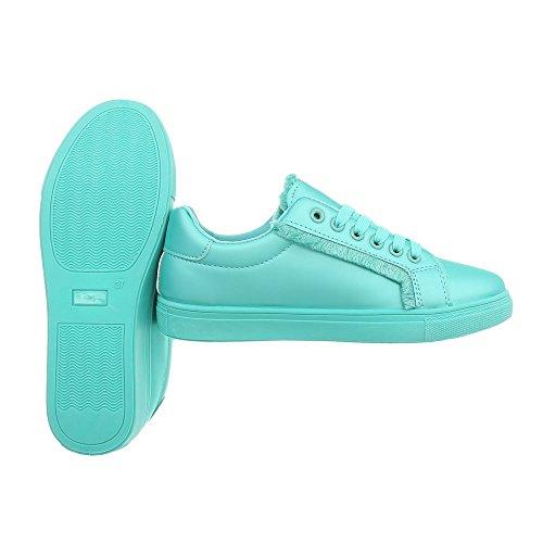 Ital-Design Sneakers Low Damenschuhe Schnürsenkel Freizeitschuhe Türkis G-91