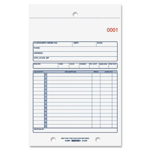 REDIFORM Sales Order Book, Carbonless, 2 Part, 5.5 x 7.875