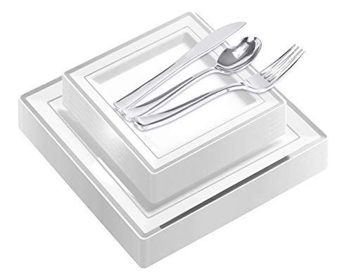 125-Piece Elegant Plastic Plates & Cutlery Set Service for 25 Disposable Place Setting Include: 25 Dinner Plates, 25 Dessert Plates, 25 Forks, 25 Knives, 25 Spoons (Silver Square) -Stock Your Home