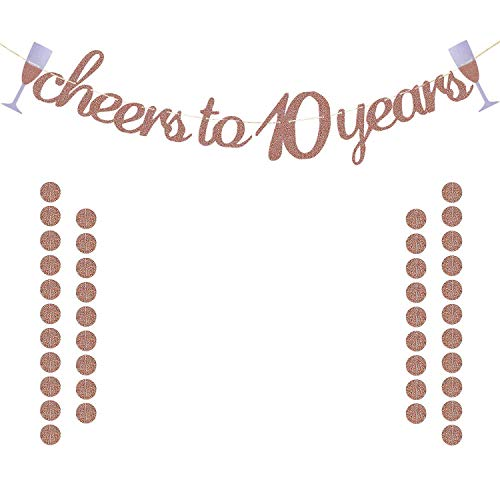 Glittery Rose Gold Cheers to 10 Years Banner for 10th Birthday Wedding Anniversary Party Decorations Supplies | Extra Rose Gold Glittery Circle Dots Garland
