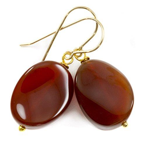 Carnelian Dangling Earrings (14k Gold Filled Carnelian Earrings Earthy Burnt Orange Smooth Curved Oval Teardrop Dangles)
