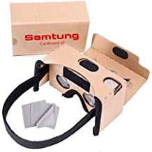 Google Cardboard Virtual Reality Glasses, Includes Head Strap, Suction Cup Mount for Secure Phone Placement + Nose & Forehead Padding, Compatible with iPhone, Samsung Galaxy, More, by Samtung