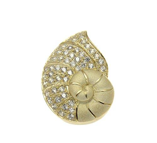 - 925 Sterling silver yellow gold plated Hawaiian nautilus shell cz slide pendant