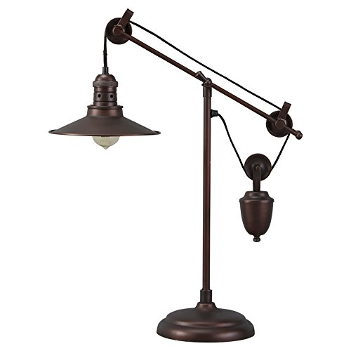 Ashley Furniture Signature Design – Kylen Desk Lamp with Metal Shade with in-Line Switch – Industrial – Bronze Finish