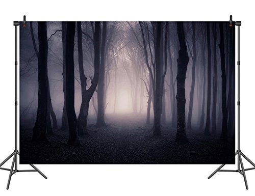 Sensfun Halloween Backdrop for Pictures Horror Scary Night Dark Forest Woods Photography Background Vinyl Studio Props Photo Booth -