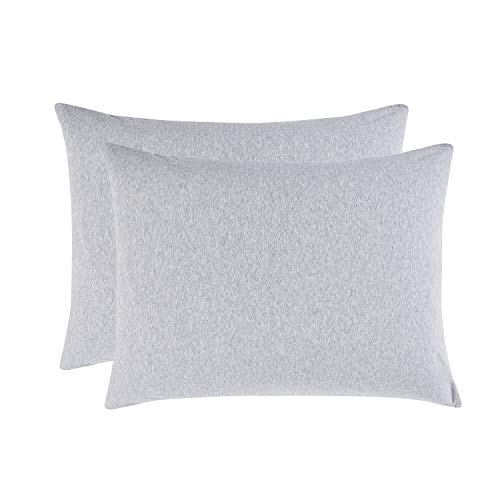 Jersey Pillow Sham - Wake In Cloud - Pack of 2 Pillow Cases, 100% Jersey Cotton Soft Comfy Pillowcases, Light Gray Grey Top Dyed Fabric in Plain Solid Color (Standard Size, 20x26 Inches)