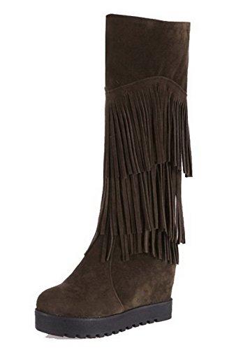 AgooLar Damen Hoher Absatz Rein Rund Zehe Mattglasbirne Ziehen auf Stiefel, Schwarz, 38