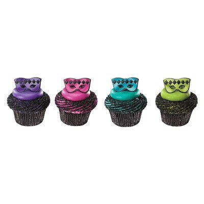 24pack Masquerade Mask Cupcake / Desert / Food Decoration Topper Rings with Favor Stickers & Sparkle -