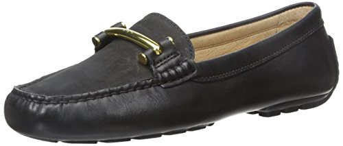 Lauren Ralph Lauren Women's Caliana Slip-On Loafer, Black Soft Burnished Calf/Elko Nubuck, 6 B US