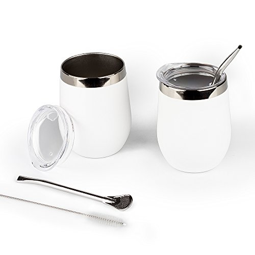 DOKIO Wine Glasses With Stainless Steel Straw 12oz Sippy Cup Tumbler White Stemless Double Wall Vacuum Insulated With Lid Unbreakable For Ice Hot Drink Coffee Champagne Cocktail Mug 2 - White 2 Glass Milk