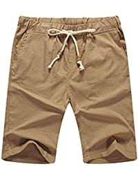 Men's Linen Casual Classic Fit Short Drawstring Summer Beach Shorts