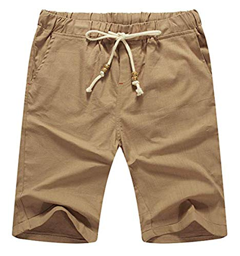 NITAGUT Men's Linen Casual Classic Fit Short Green XS