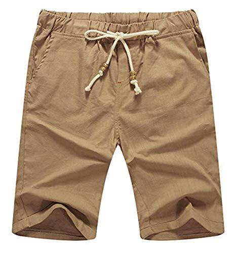NITAGUT Men's Linen Casual Classic Fit Short (XL(US 41-44), 03 Dark Khaki)