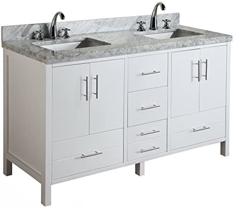 California 60-inch Double Bathroom Vanity Carrara White Includes Modern White Cabinet with Soft Close Drawers, Italian Carrara Marble Countertop, and Double Rectangular Ceramic Sinks