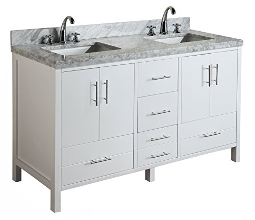 Double Ceramic Sink - California 60-inch Double Bathroom Vanity (Carrara/White): Includes Modern White Cabinet with Soft Close Drawers, Italian Carrara Marble Countertop, and Double Rectangular Ceramic Sinks