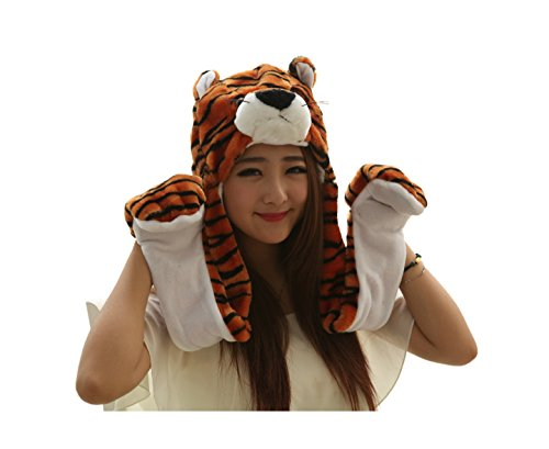 [Dealzip Inc Cartoon Animal Long Style Cute Tiger Plush Hood Scarf Winter Warm Party Cute Cap Hat] (Cute Tiger Costumes Women)