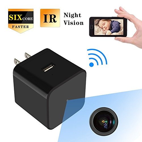 HD 1080P Hidden Spy Camera USB Wall Charger Mini WIFI Home Security Wireless Nanny Baby Pet Cam with Audio IR Night Vision Motion Detection.
