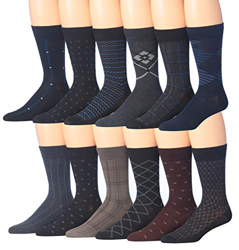 Lightweight Dress Socks - James Fiallo Mens 12 Pack Patterned Dress Socks (Classy Dress Pack)