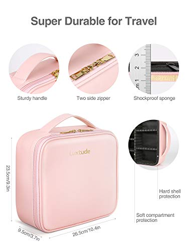 "Luxtude Travel Makeup Bag Makeup Case Cosmetic bag, 2-Layer 10.4"" Large PU Leather Make up bag, Portable Professional Makeup Train Case Cosmetic Artist Storage Organizer with Dividers for Women (Pink)"