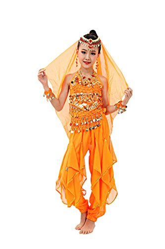 Halloween Costumes Orange (So Sydney Girls Kid Childrens Deluxe Belly Dancer Halloween Costume Complete Set (XL (14/16), Orange))