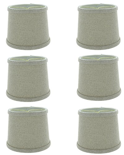 Upgradelights 6 Inch Set of 6 Beige Linen Drum Shaped Chandelier Lampshade 5x6x5 (Shade Barrel Pendant)