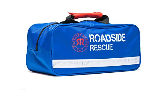 Roadside Emergency Assistance Kit by Roadside Rescue - Packed 101 Premium Pieces & Rugged Bag - Car, Truck & RV Kit with Heavy Duty Jumper Cables  HD Tow Strap  Safety Triangle  First Aid & more