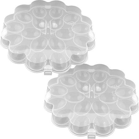 Set of 2, Lids Protect Durable and Safe Deviled Egg Trays with Snap On Lids, Holds 36 Eggs, Clear 82-Y3458