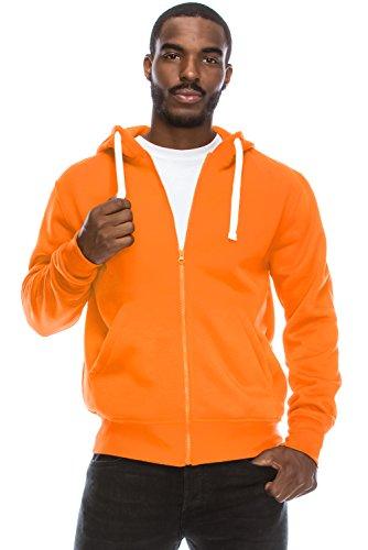 Mens Hipster Hip Hop Basic Light Weight Zip-Up ORANGE Hoodie Jacket X-Large