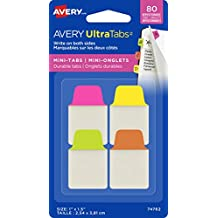 """Avery Ultra Tabs, Mini Tabs, Primary, 1.5"""" X 1"""", Durable, Repositionable, Smudge-Free, 80 Tabs (74763)"""