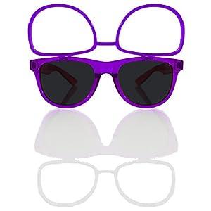 Sunglasses w/ Flip Up Diffraction Lenses - EDMPlug (Transparent Purple Frame)