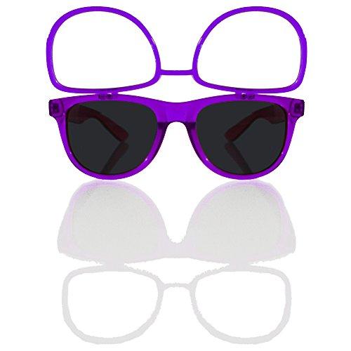 Sunglasses w/ Flip Up Diffraction Lenses - EDMPlug (Transparent Purple - Trap Sunglasses